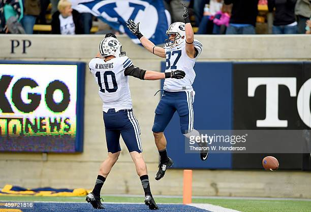 Mitchell Juergens and Mitch Mathews of the Brigham Young Cougars celebrates after Juerges scored a touchdown against the California Golden Bears...