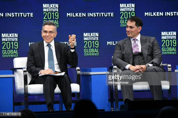 Mitchell Julis and Brian Sheth participate in a panel discussion during the annual Milken Institute Global Conference at The Beverly Hilton Hotel on...