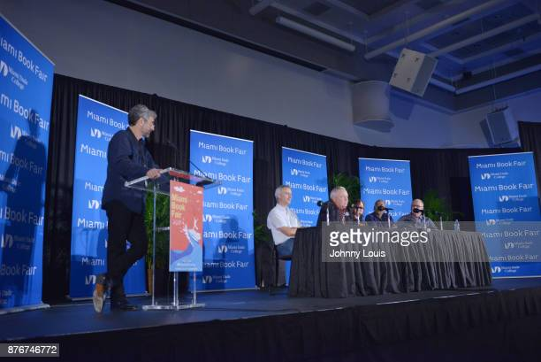 Mitchell Kaplan Ian Sharples Les Standiford Paula Mazur Bharat Nalluri and Robert Mickelson attend The Miami Book Fair at Miami Dade College Wolfson...