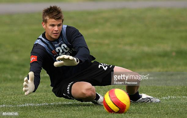 Mitchell Langerak makes a save during a Melbourne Victory ALeague training session at Gosch's Paddock on October 28 2008 in Melbourne Australia