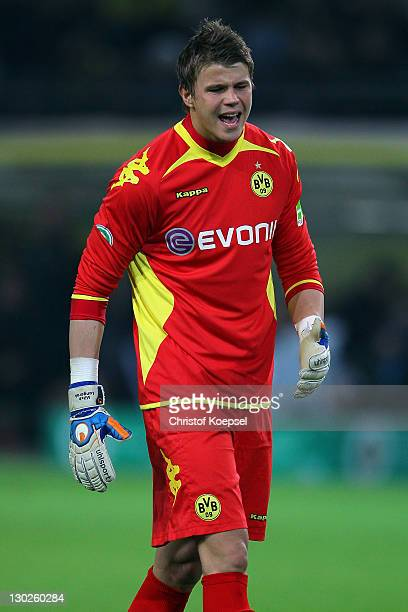 Mitchell Langerak of Dortmund shouts during the second round DFB Cup match between Borussia Dortmund and Dynamo Dresden at SignalIduna Park on...