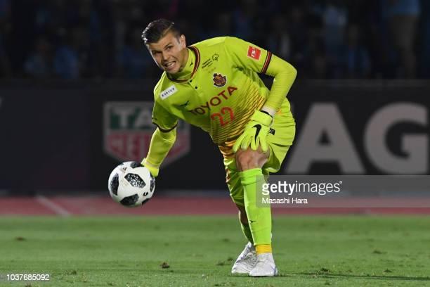 Mitchell Langerak of Nagoya Grampus in action during the JLeague J1 match between Kawasaki Frontale and Nagoya Grampus at Todoroki Stadium on...