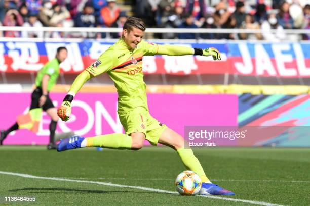 Mitchell Langerak of Nagoya Grampus in action during the J.League J1 match between FC Tokyo and Nagoya Grampus at Ajinomoto Stadium on March 17, 2019...