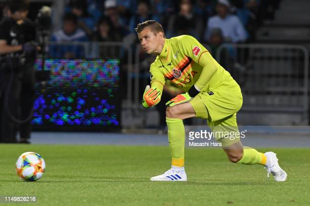 Mitchell Langerak of Nagoya Grampus in action during the J.League J1 match between Kawasaki Frontale and Nagoya Grampus at Todoroki Stadium on May...