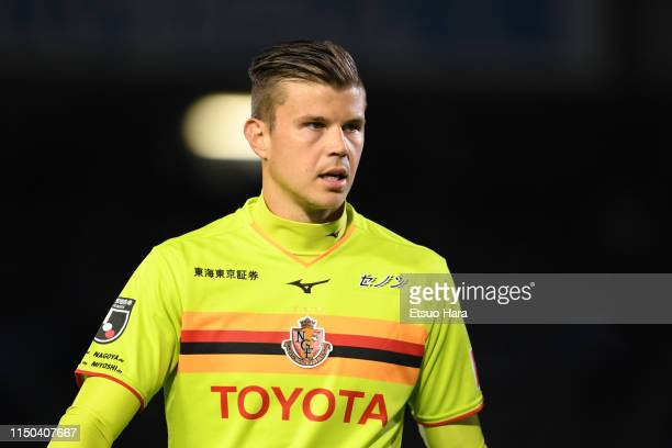 Mitchell Langerak of Nagoya Grampus looks on during the J.League J1 match between Kawasaki Frontale and Nagoya Grampus at Todoroki Stadium on May 17,...