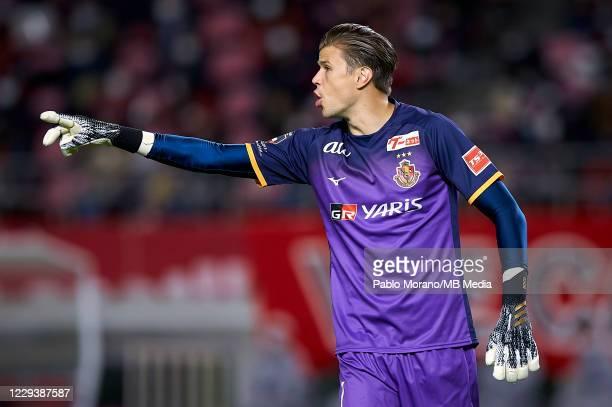 Mitchell Langerak of Nagoya reacts during the J.League Meiji Yasuda J1 match between Kashima Antlers and Nagoya Grampus at the Kashima Soccer Stadium...