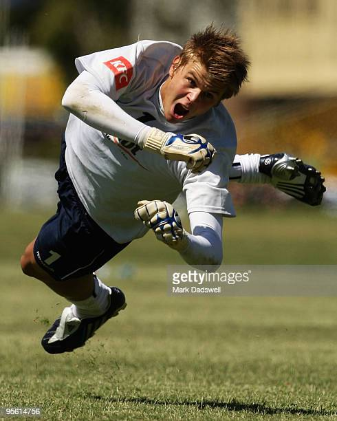Mitchell Langerak of the Victory attempts to make a save during a Melbourne Victory A-League training session at Monash University on January 7, 2010...