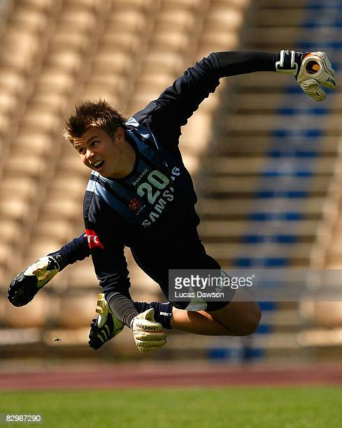 Mitchell Langerak of the Victory in action during a Melbourne Victory A-League training session at Olympic Park on September 23, 2008 in Melbourne,...