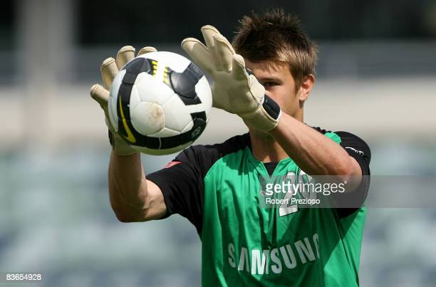 Mitchell Langerak of the Victory in action during a Melbourne Victory A-League training session at Olympic park on November 12, 2008 in Melbourne,...