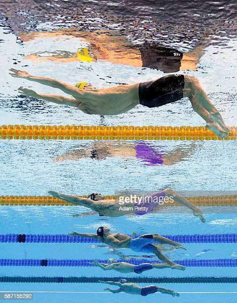 Mitchell Larkin of Australia, Camille Lacourt of France, David Plummer of the United States, Robert Glinta of Romania and Guilherme Guido of Brazil...