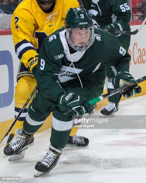 Mitchell Lewandowski of the Michigan State Spartans follows the play against the Michigan Wolverines during the Duel in the D game at Little Caesars...
