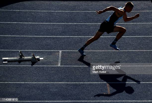 Mitchell Lightfoot of New South Wales starts in the Men 400 Metres Hurdles U17 final during the Australian Track and Field Championships at Sydney...