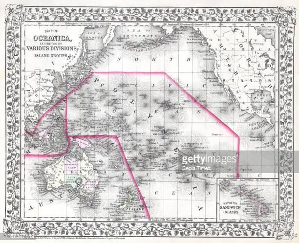 1874 Mitchell Map of Australia Polynesia and Hawaii