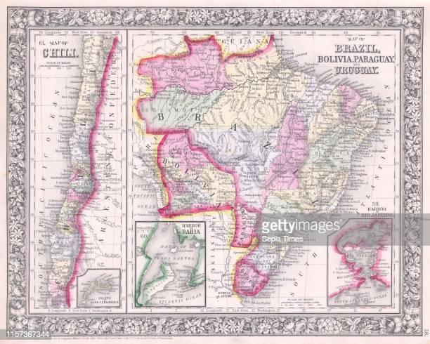 1864 Mitchell Map of Brazil Bolivia and Chili