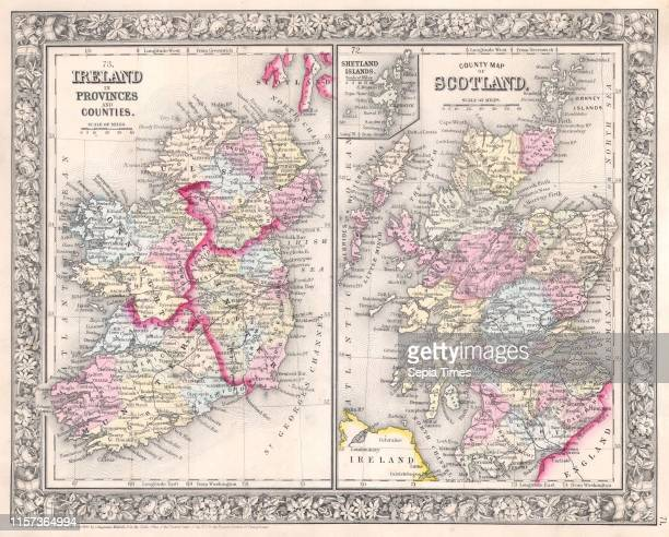 1864 Mitchell Map of Ireland and Scotland