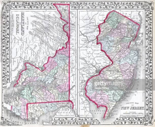 1874 Mitchell Map of Maryland New Jersey and Delaware