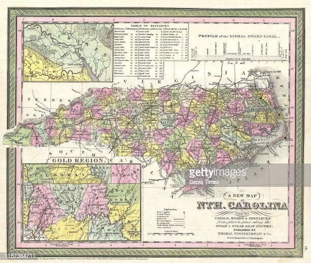 1850 Mitchell Map of North Carolina showing Gold Regions