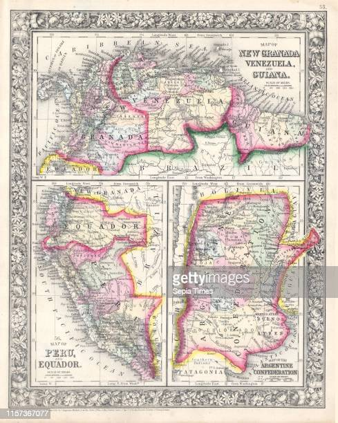 1864 Mitchell Map of Peru Equador Ecuador Argentina Columbia and Venezuela