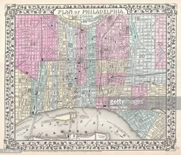 1867 Mitchell Map of Philadelphia Pennsylvania