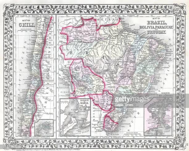 1874 Mitchell Map of South America Brazil Bolivia Papaguay Uruguay and Chili