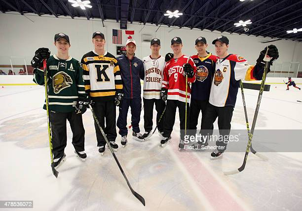 Mitchell Marner Lawson Crouse Jonathan Huberdeau of the Florida Panthers Noah Hanafin Jack Eichel Dylan Strome and Connor McDavid attend the Top...