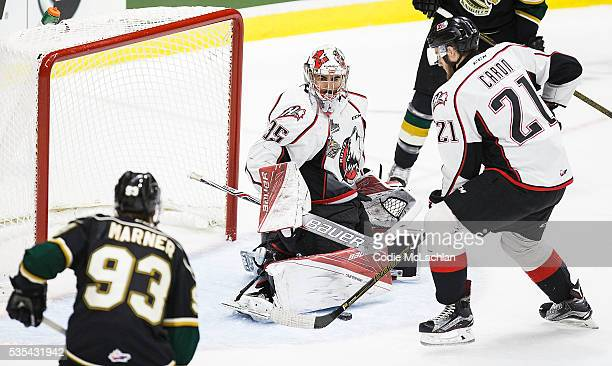 Mitchell Marner of the London Knights can't get the puck past Goaltender Chase Marchand of the Rouyn-Noranda Huskies during the Memorial Cup Final on...