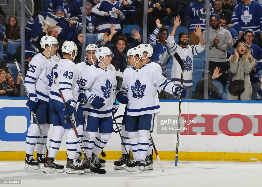 Mitchell Marner #16 of the Toronto Maple Leafs celebrates his third period goal against the Buffalo Sabres during an NHL game on March 5, 2018 at KeyBank Center in Buffalo, New York. Buffalo won, 5-3.
