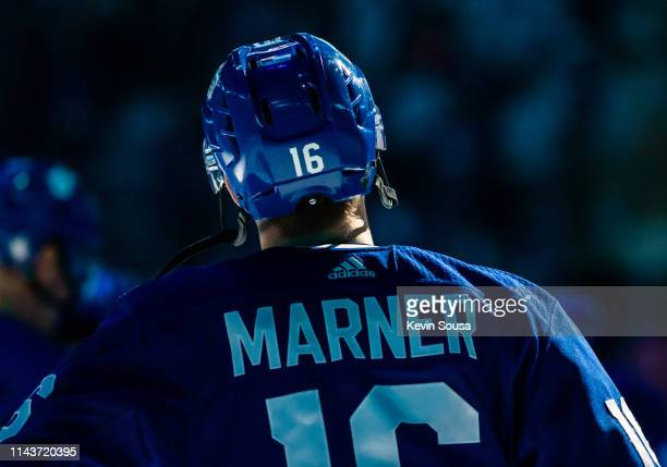 Mitchell Marner of the Toronto Maple Leafs during opening ceremonies before a game against the Boston Bruins during the first period during Game Four...