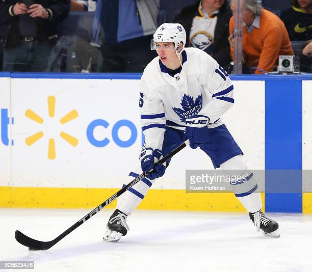 Mitchell Marner of the Toronto Maple Leafs during the game against the Buffalo Sabres at KeyBank Center on March 5 2018 in Buffalo New York