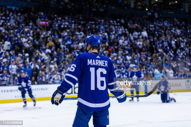 Mitchell Marner of the Toronto Maple Leafs during warm up before a game against the Boston Bruins during Game Six of the Eastern Conference First...