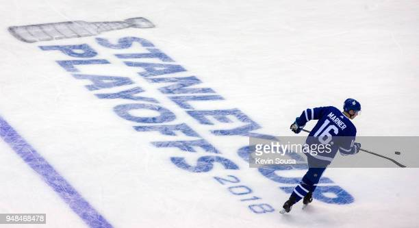 Mitchell Marner of the Toronto Maple Leafs during warm up before playing the Boston Bruins in Game Three of the Eastern Conference First Round during...