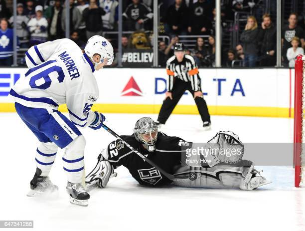 Mitchell Marner of the Toronto Maple Leafs is stopped by Jonathan Quick of the Los Angeles Kings in overtime shootout at Staples Center on March 2...