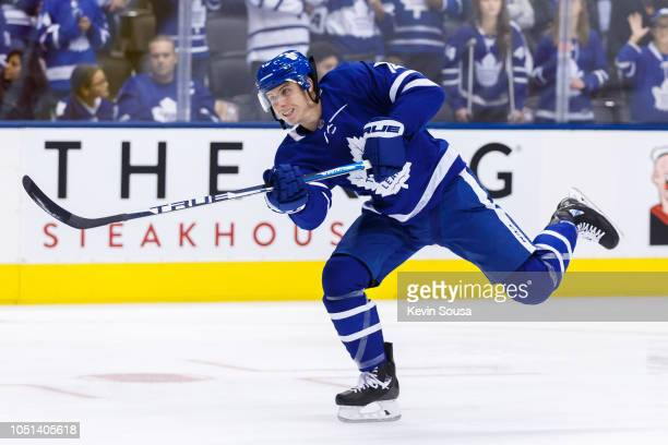 Mitchell Marner of the Toronto Maple Leafs releases a shot during warm up prior to an NHL game against the Ottawa Senators at the Scotiabank Arena on...