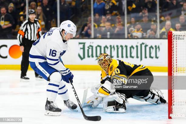 Mitchell Marner of the Toronto Maple Leafs scores a penalty on Tuukka Rask of the Boston Bruins in the second period of Game One of the Eastern...