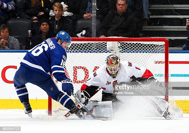 Mitchell Marner of the Toronto Maple Leafs scores on Mike Condon of the Ottawa Senators during a shootout at the Air Canada Centre on January 21 2017...