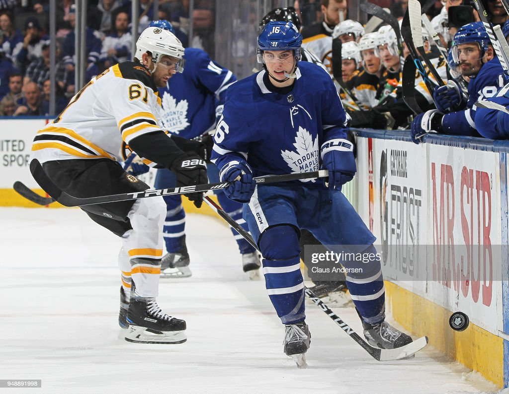 Mitchell Marner #16 of the Toronto Maple Leafs skates after a puck against the Boston Bruins in Game Four of the Eastern Conference First Round in the 2018 Stanley Cup play-offs at the Air Canada Centre on April 19, 2018 in Toronto, Ontario, Canada. The Bruins defeated the Maple Leafs 3-1.