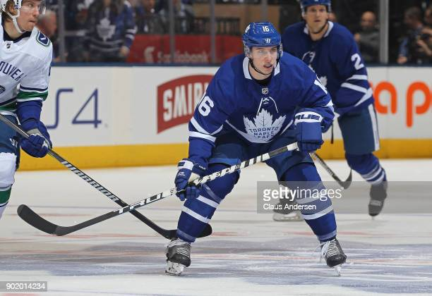 Mitchell Marner of the Toronto Maple Leafs skates against the Vancouver Canucks during an NHL game at the Air Canada Centre on January 6 2018 in...