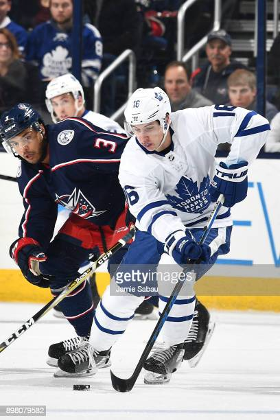 Mitchell Marner of the Toronto Maple Leafs skates against the Columbus Blue Jackets on December 20 2017 at Nationwide Arena in Columbus Ohio