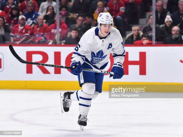 Mitchell Marner of the Toronto Maple Leafs skates against the Montreal Canadiens during the second period at the Bell Centre on February 8, 2020 in...