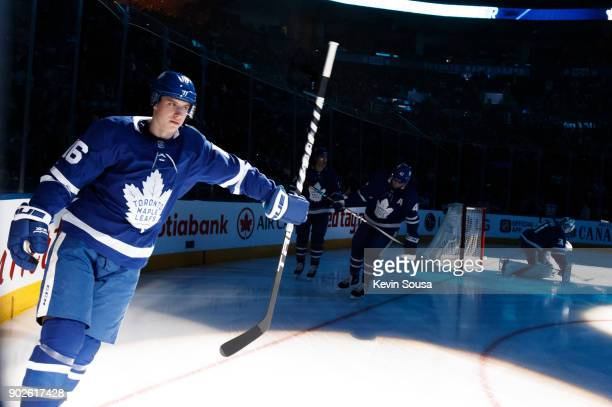 Mitchell Marner of the Toronto Maple Leafs skates during the pregame ceremonies prior to playing against the Vancouver Canucks at the Air Canada...