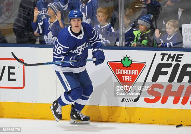 Mitchell Marner of the Toronto Maple Leafs skates during the warmup prior to playing against the Carolina Hurricanes in an NHL game at the Air Canada...