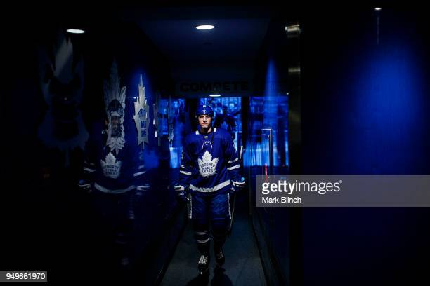 Mitchell Marner of the Toronto Maple Leafs walks to the dressing room before playing the Boston Bruins in Game Four of the Eastern Conference First...