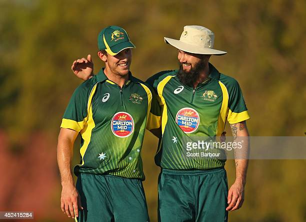 Mitchell Marsh and Kane Richardson of Australia A embrace as they win the match during the Quadrangular One Day Series match between Australia A and...
