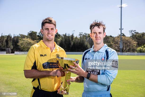 Mitchell Marsh and Kurtis Patterson pose during the Marsh One Day Cup Final Media Opportunity at Blacktown International Sportspark on April 10, 2021...