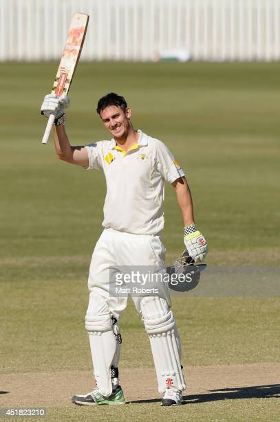 MItchell Marsh of Australia A celebrates scoring his century during the Quadrangular Series match between Australia A and India A at Allan Border...
