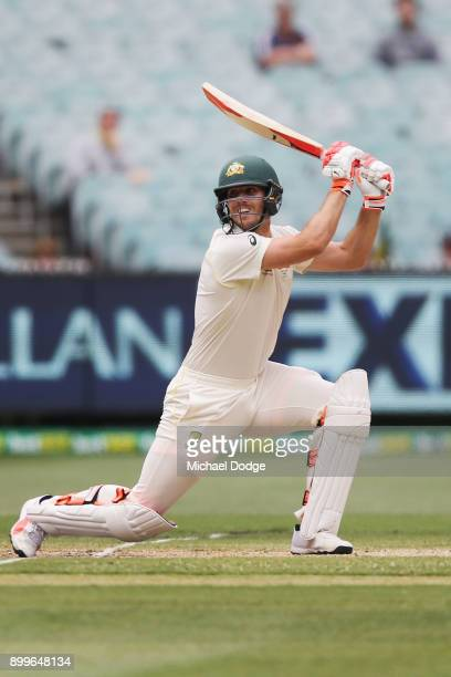 Mitchell Marsh of Australia bats during day one of the Fourth Test Match in the 2017/18 Ashes series between Australia and England at Melbourne...