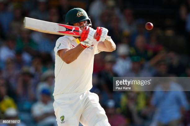 Mitchell Marsh of Australia bats during day three of the Third Test match during the 2017/18 Ashes Series between Australia and England at WACA on...