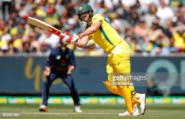Mitchell Marsh of Australia bats during game one of the One Day International Series between Australia and England at Melbourne Cricket Ground on...