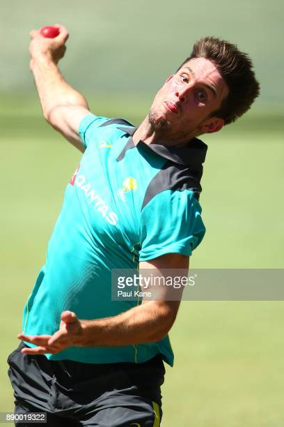 Mitchell Marsh of Australia bowls in the nets during an Australian nets session at WACA on December 11, 2017 in Perth, Australia.