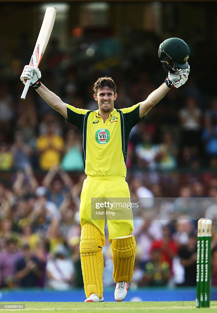 Mitchell Marsh of Australia celebrates and acknowledges the crowd after scoring a century during game five of the Commonwealth Bank One Day Series match between Australia and India at Sydney Cricket Ground on January 23, 2016 in Sydney, Australia.